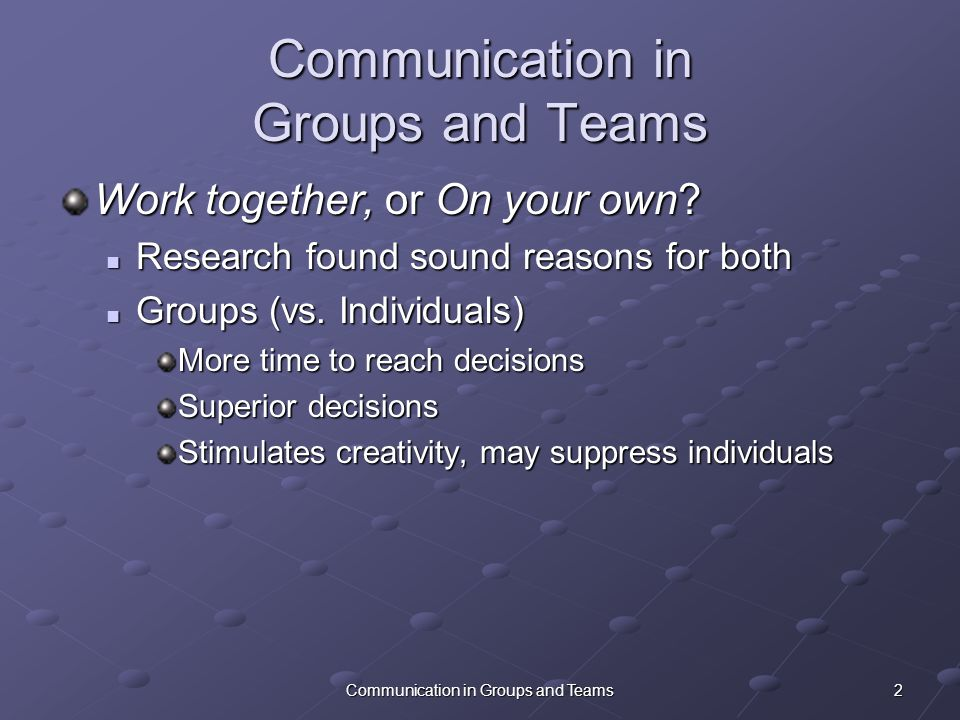 how communication in groups differs from individual communication
