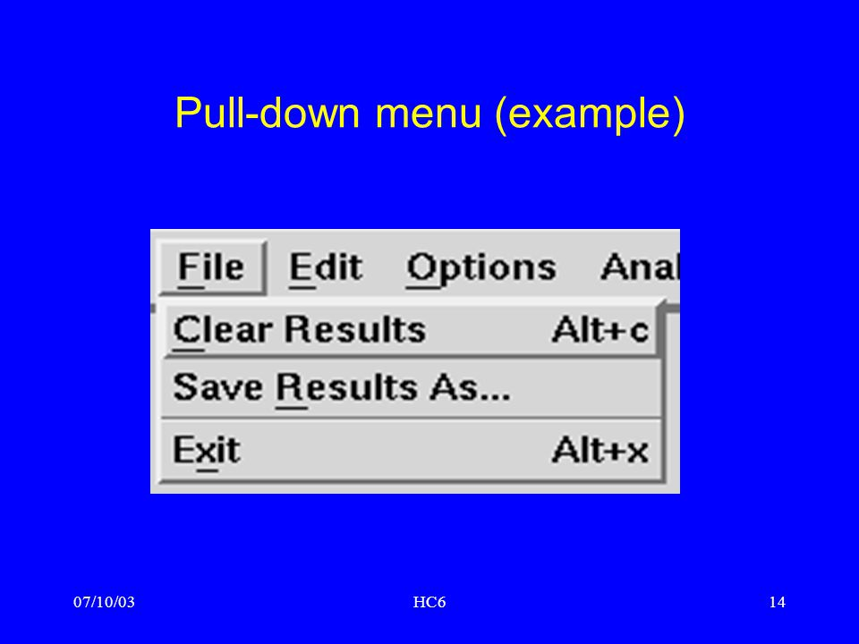 Pull-down menu (example)
