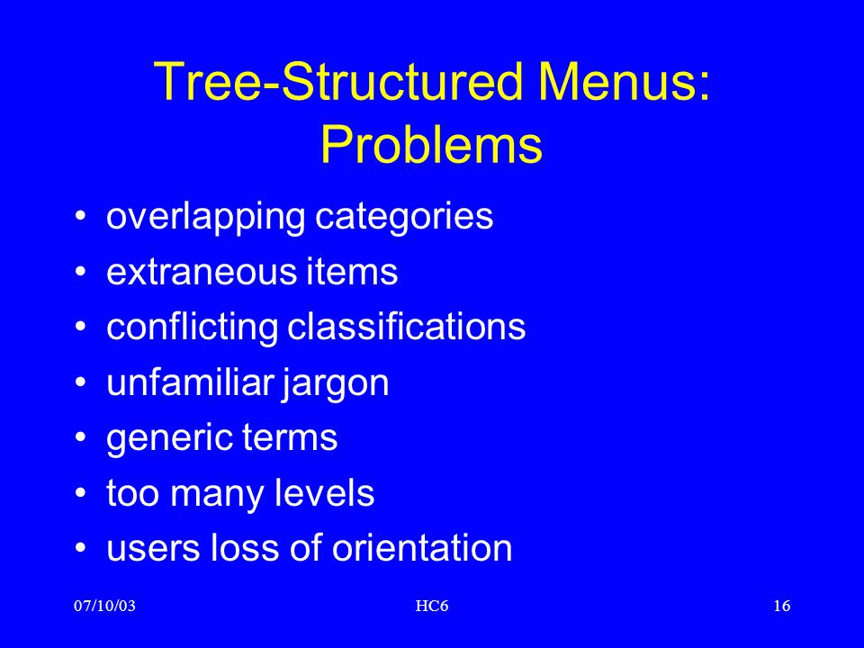 Tree-Structured Menus: Problems