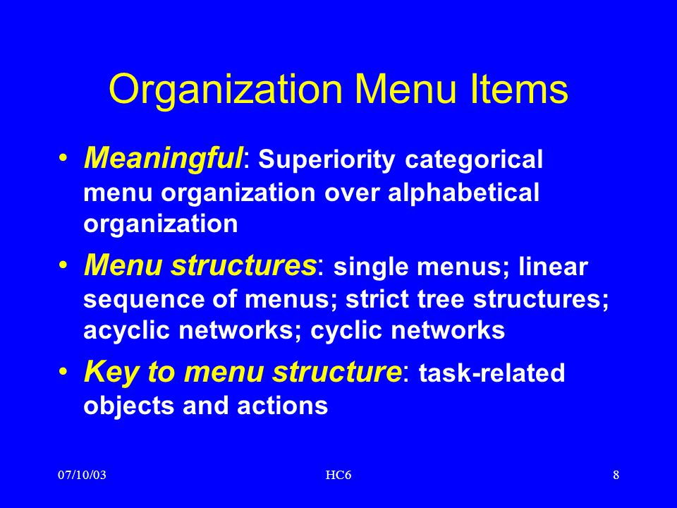 Organization Menu Items