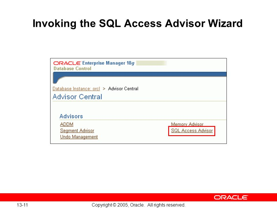 Invoking the SQL Access Advisor Wizard