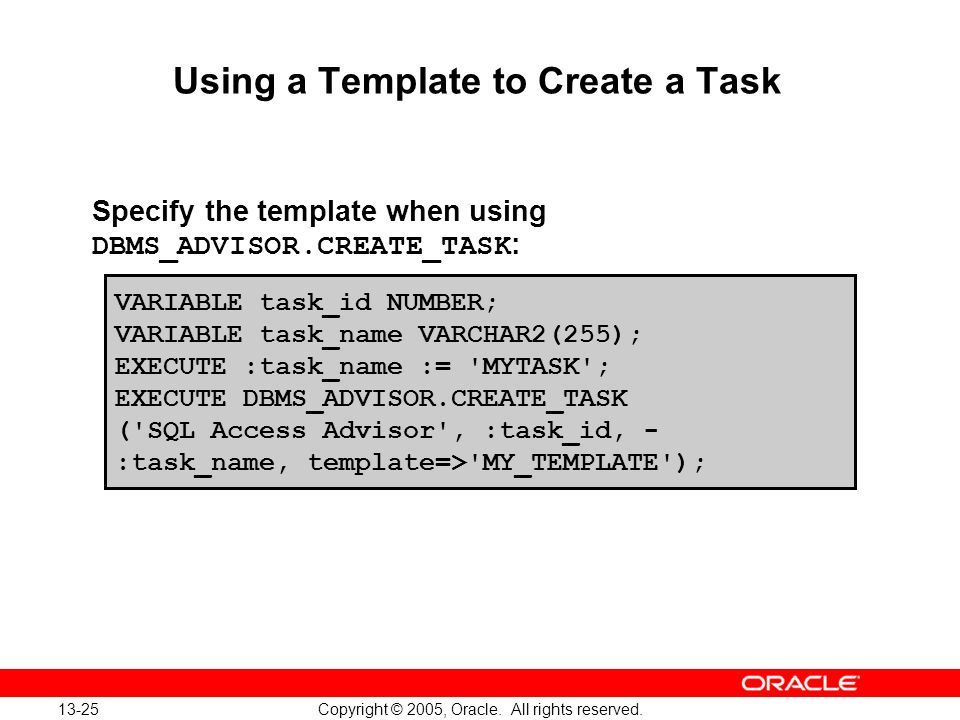 Using a Template to Create a Task