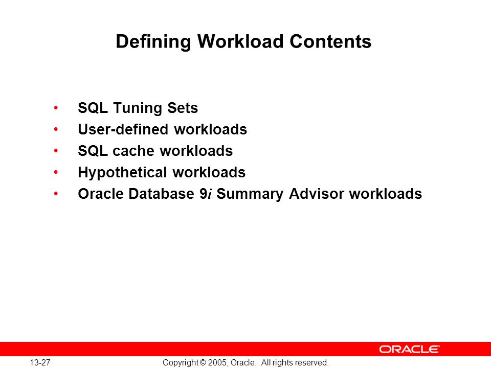 Defining Workload Contents