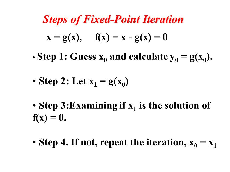 Fixed point method matlab example