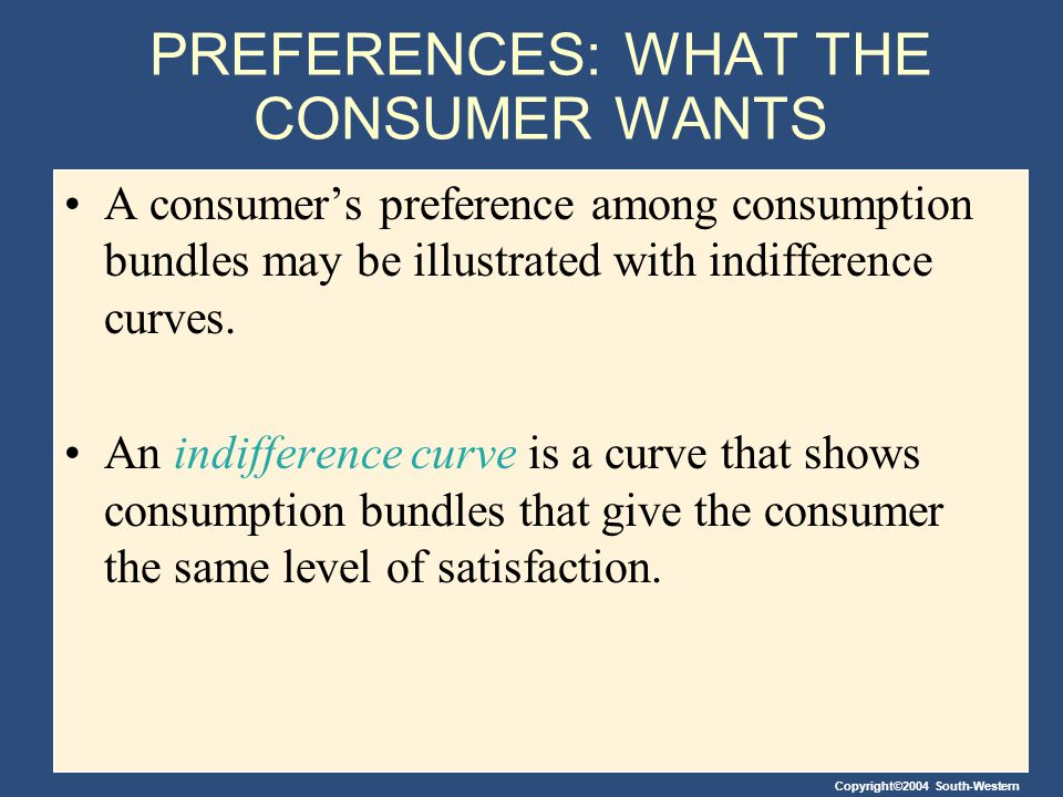 PREFERENCES: WHAT THE CONSUMER WANTS