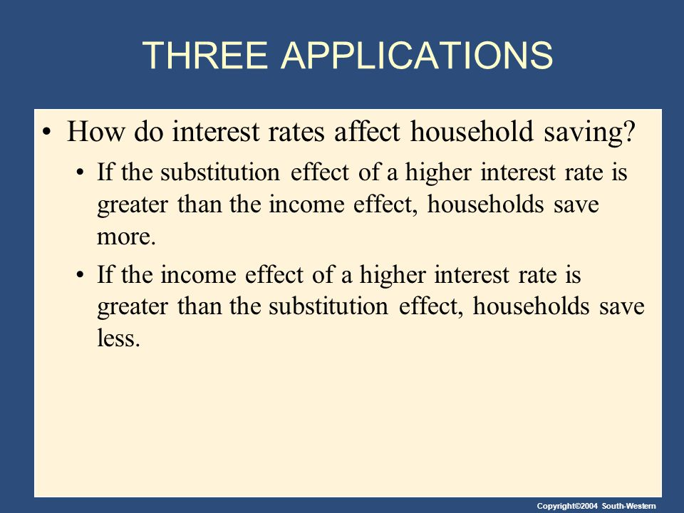 THREE APPLICATIONS How do interest rates affect household saving