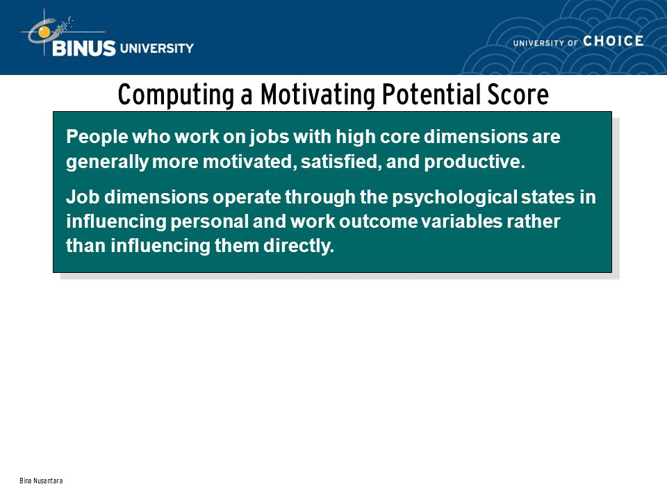 Computing a Motivating Potential Score