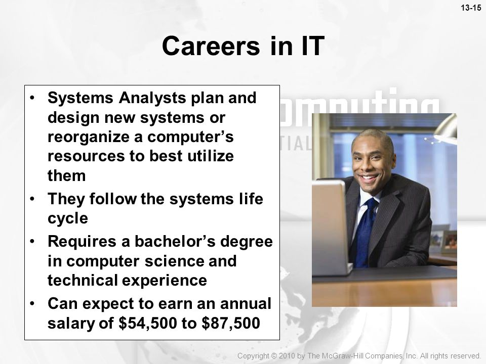 Careers in IT Systems Analysts plan and design new systems or reorganize a computer's resources to best utilize them.