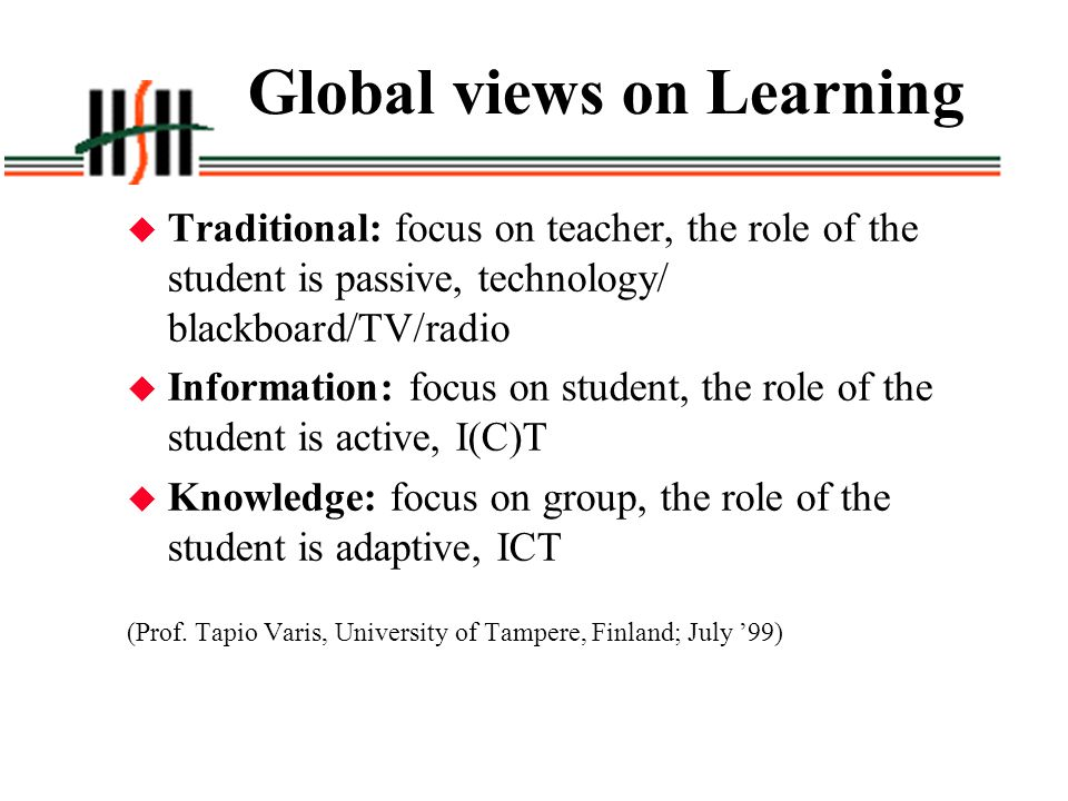 Global views on Learning