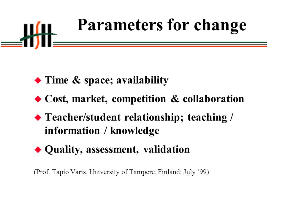 Parameters for change Time & space; availability