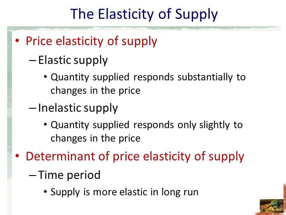 The Elasticity of Supply
