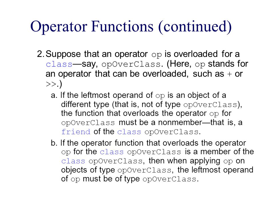 Operator Functions (continued)