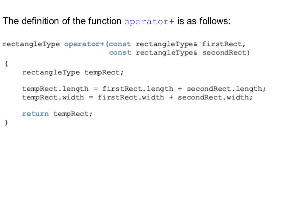 The definition of the function operator+ is as follows: