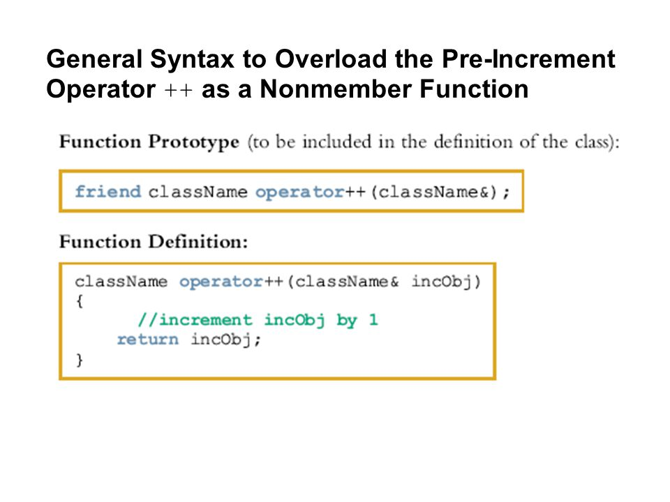 General Syntax to Overload the Pre-Increment Operator ++ as a Nonmember Function