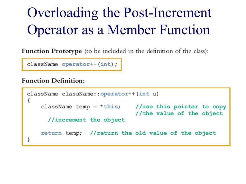 Overloading the Post-Increment Operator as a Member Function