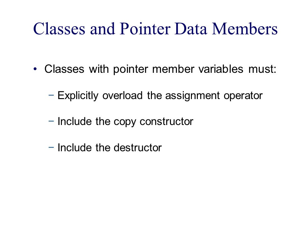 Classes and Pointer Data Members