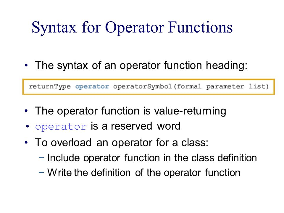 Syntax for Operator Functions