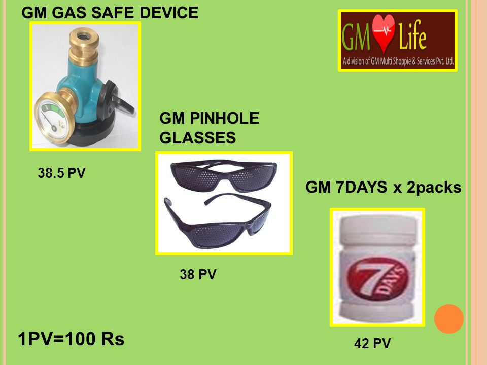 1PV=100 Rs GM GAS SAFE DEVICE GM PINHOLE GLASSES GM 7DAYS x 2packs