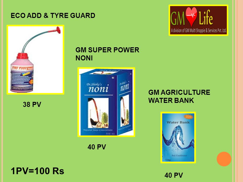 1PV=100 Rs ECO ADD & TYRE GUARD GM SUPER POWER NONI