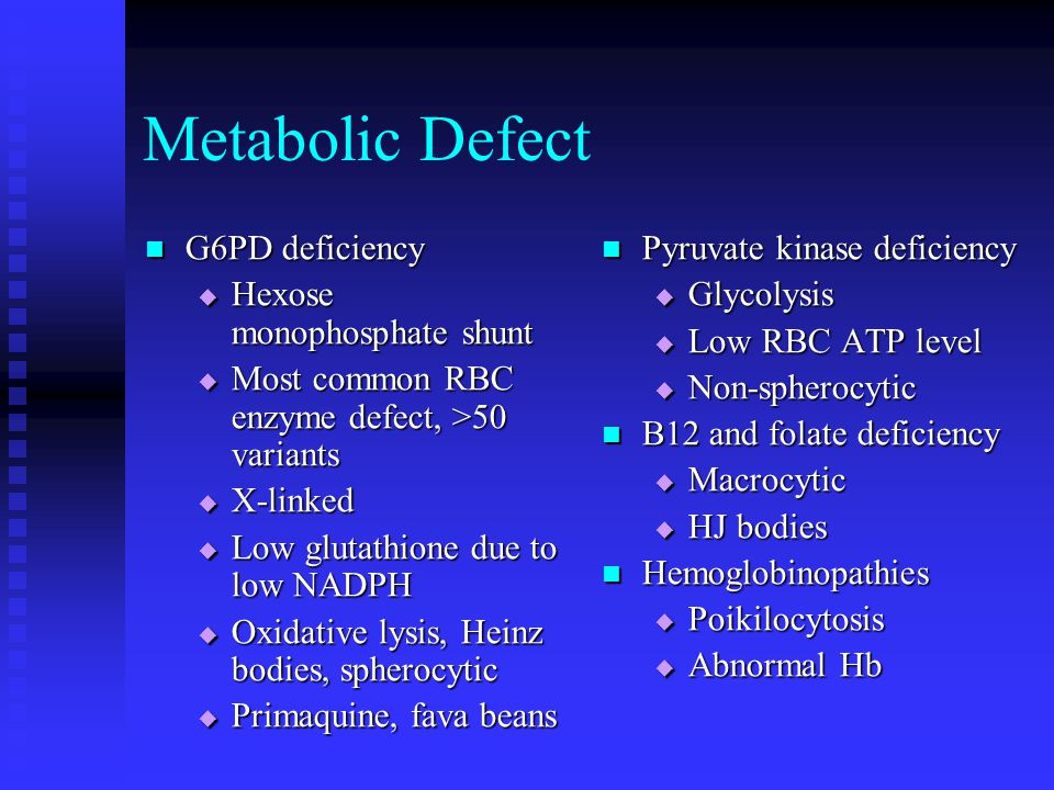 Metabolic Defect G6PD deficiency Hexose monophosphate shunt