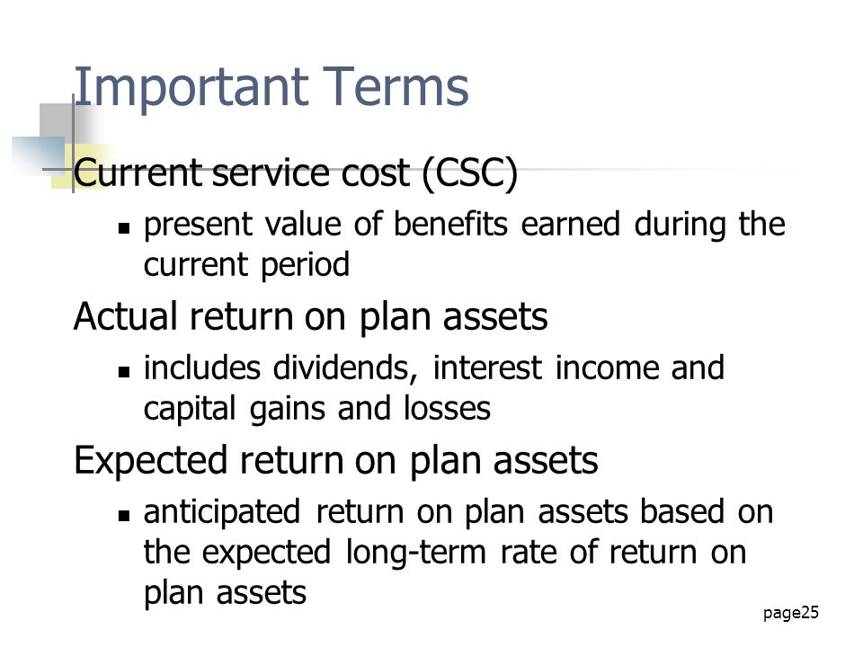 Important Terms Current service cost (CSC)