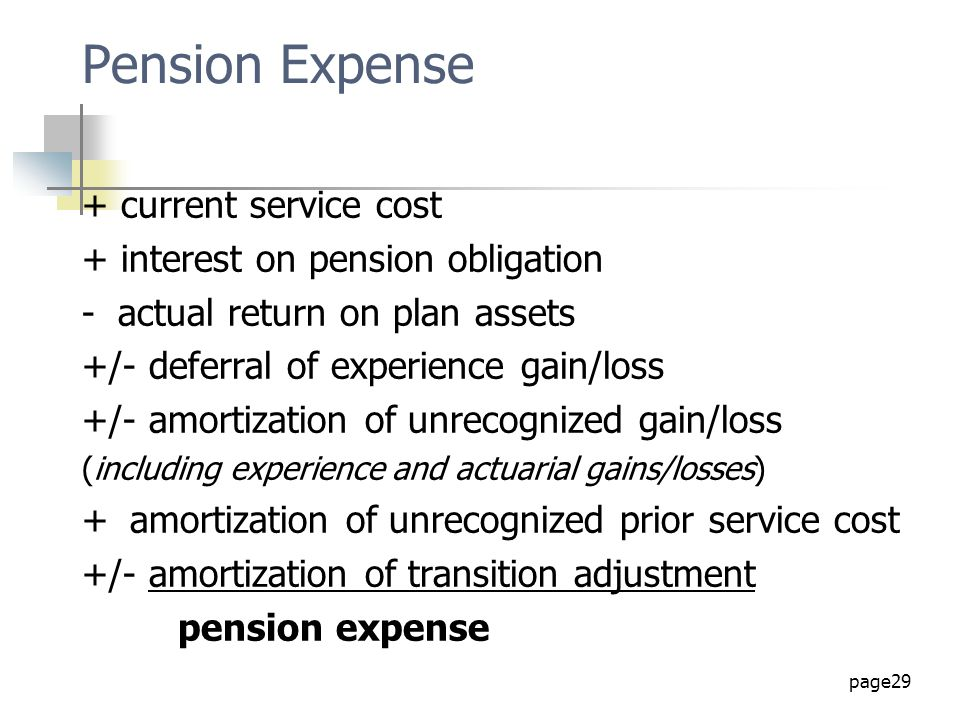 Pension Expense + current service cost