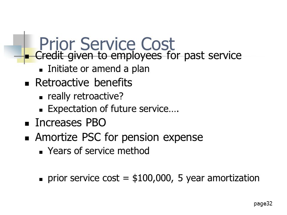 Prior Service Cost Credit given to employees for past service