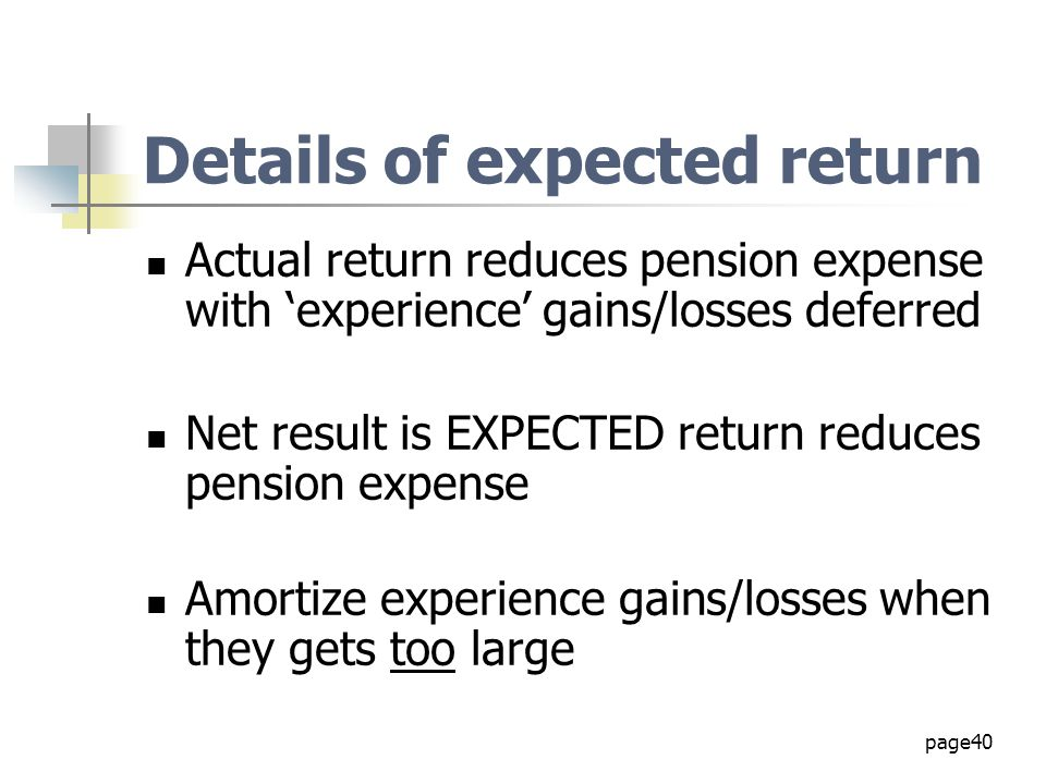 Details of expected return
