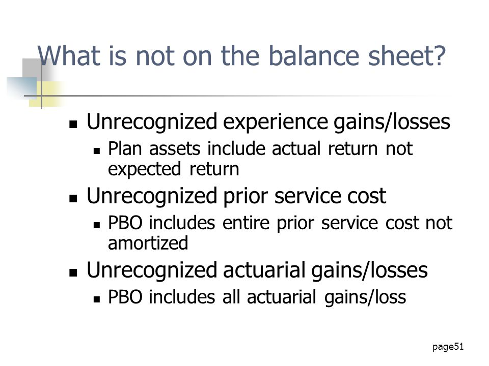 What is not on the balance sheet