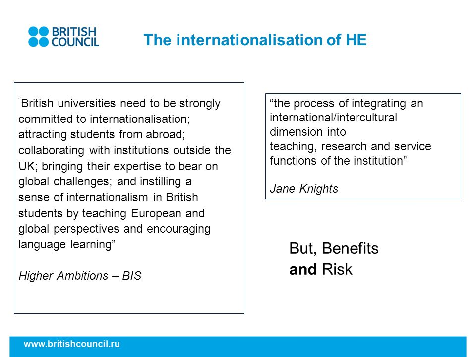 The internationalisation of HE