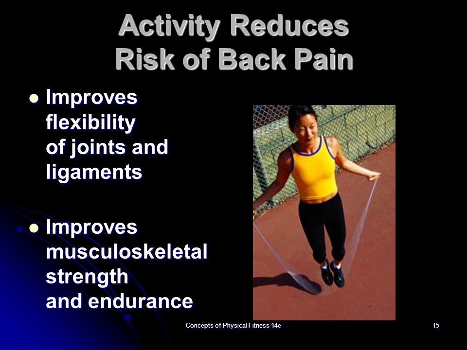 Activity Reduces Risk of Back Pain