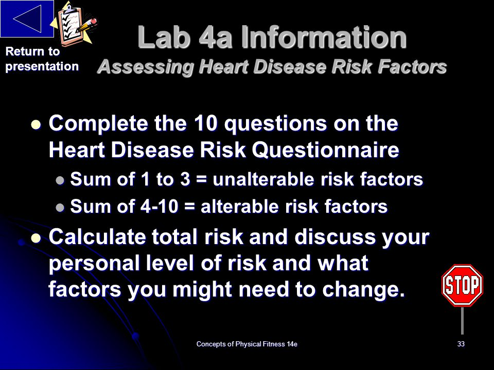 Lab 4a Information Assessing Heart Disease Risk Factors