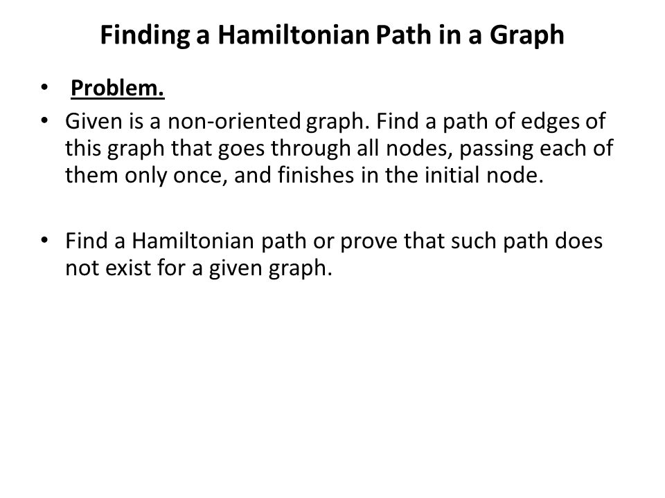 Finding a Hamiltonian Path in a Graph