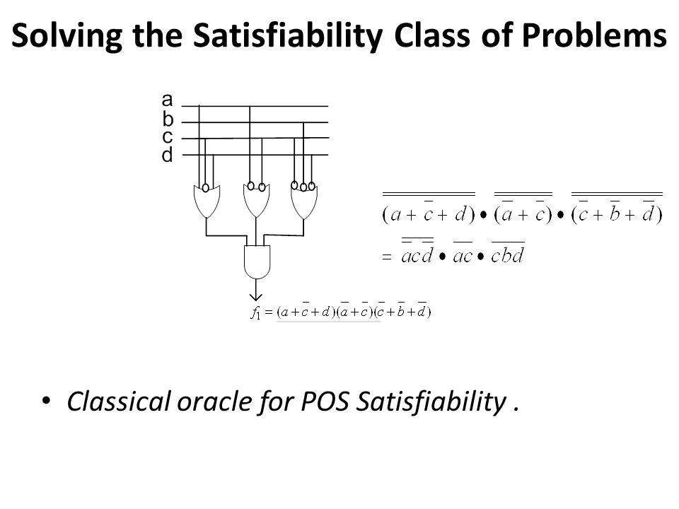 Solving the Satisfiability Class of Problems