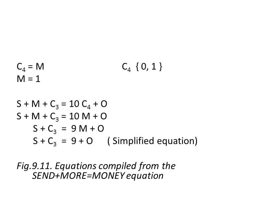 C4 = M C4 { 0, 1 } M = 1 S + M + C3 = 10 C4 + O S + M + C3 = 10 M + O S + C3 = 9 M + O S + C3 = 9 + O ( Simplified equation) Fig.9.11.