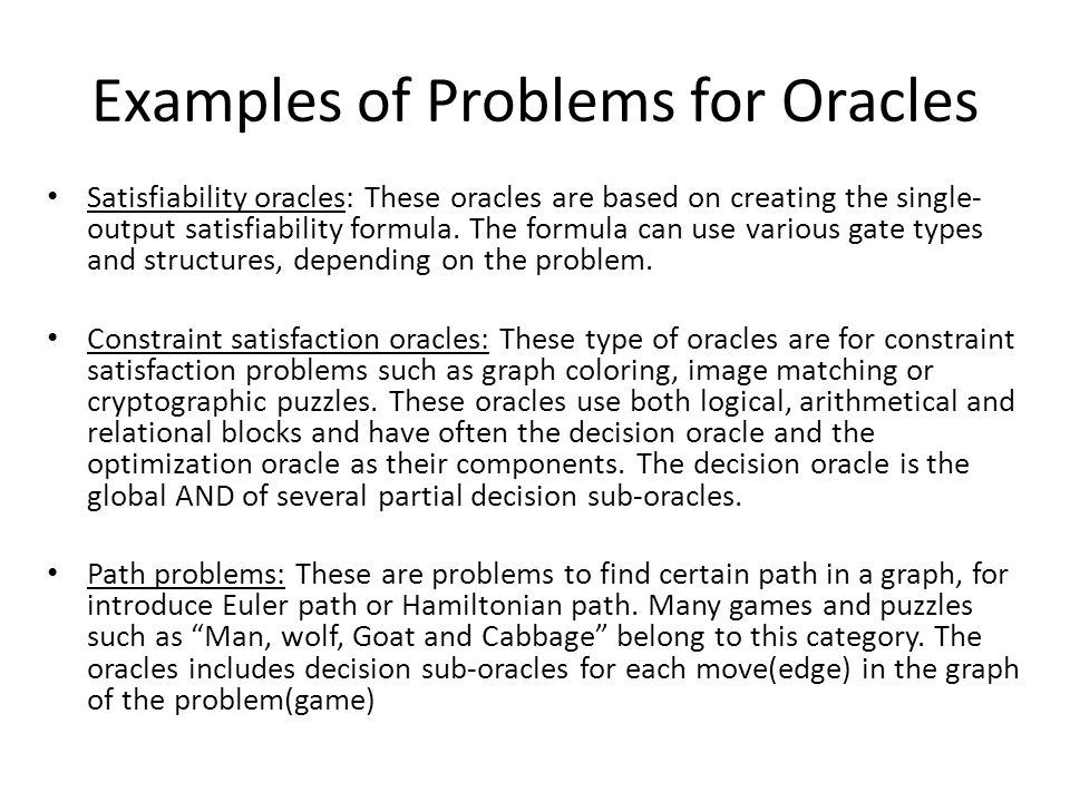 Examples of Problems for Oracles