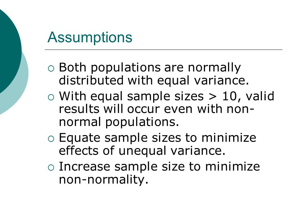 Assumptions Both populations are normally distributed with equal variance.