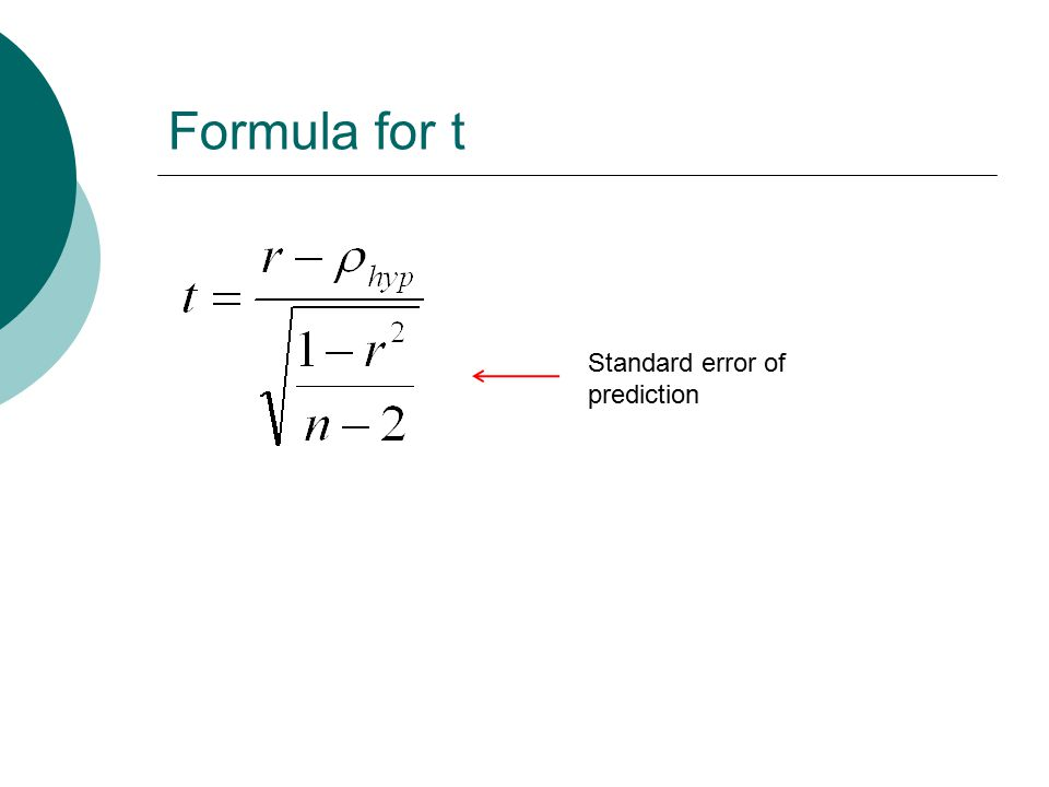 Formula for t Standard error of prediction