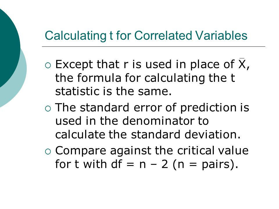 Calculating t for Correlated Variables