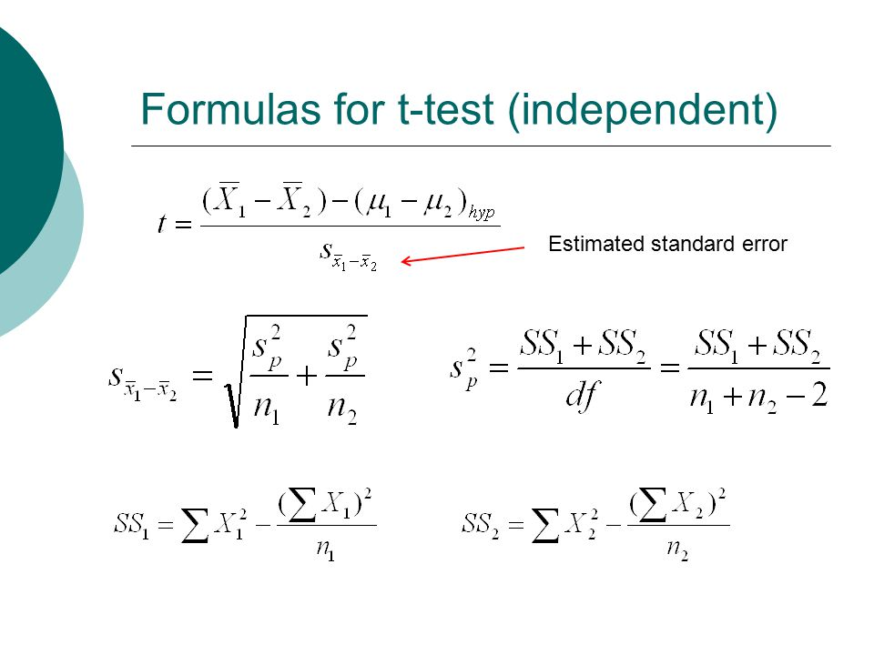 Formulas for t-test (independent)