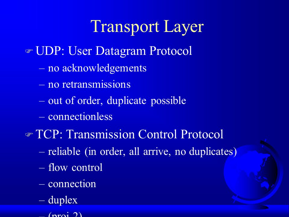 Transport Layer UDP: User Datagram Protocol