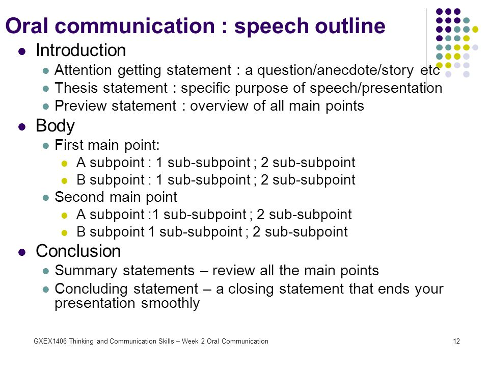 Oral communication : speech outline