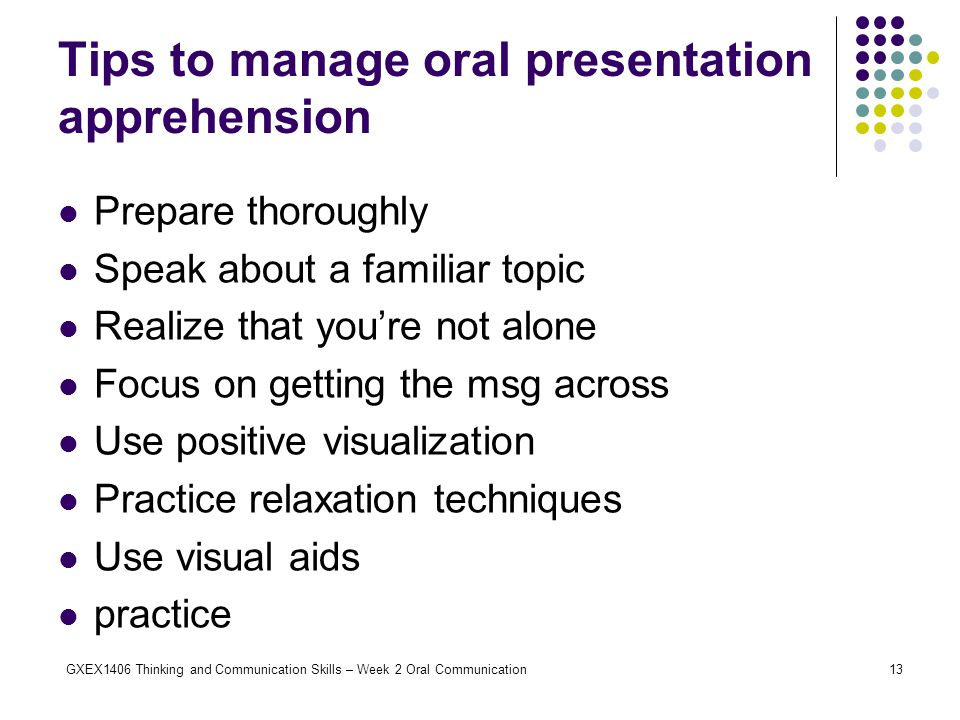 Tips to manage oral presentation apprehension