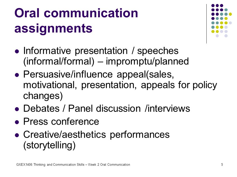 Oral communication assignments