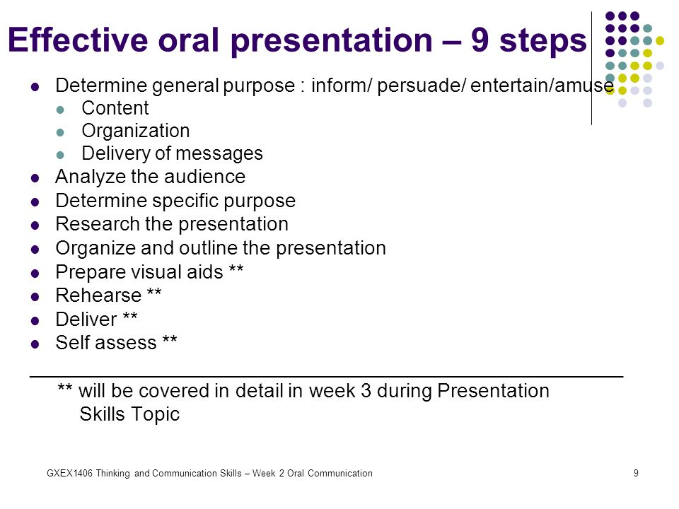 Effective oral presentation – 9 steps