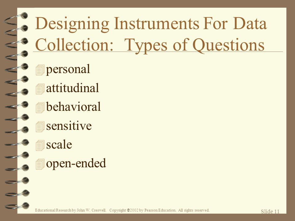 Designing Instruments For Data Collection: Types of Questions