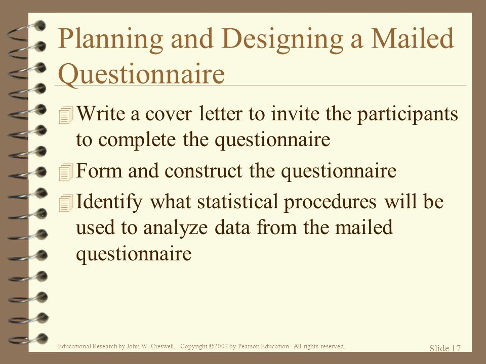 Planning and Designing a Mailed Questionnaire