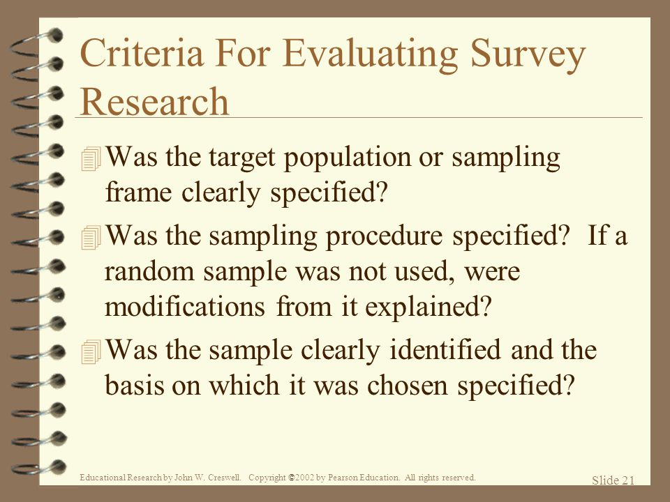 Criteria For Evaluating Survey Research