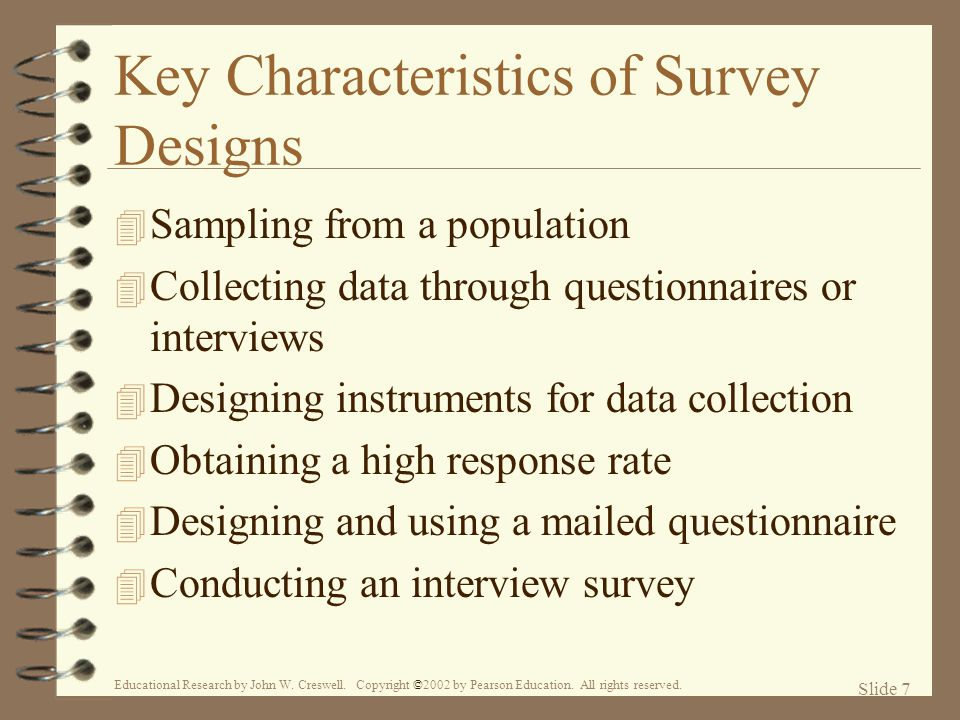 Key Characteristics of Survey Designs