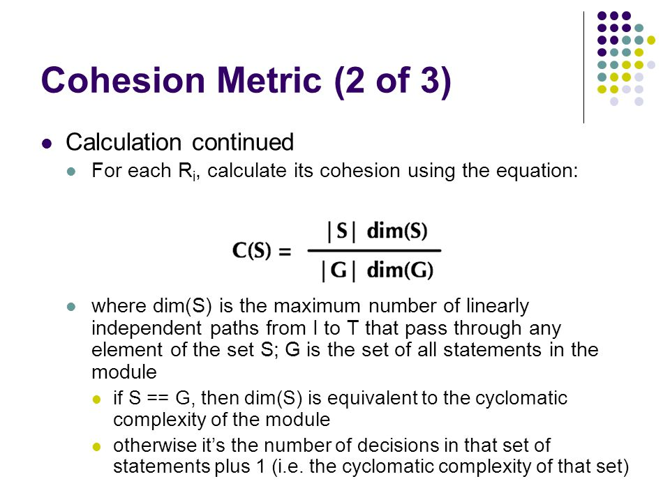 Cohesion Metric (2 of 3) Calculation continued